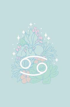 'Cancer Zodiac Flowers - MINT' by VenusandMoon