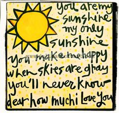 You Are My Sunshine Art Print 11x14 by julieabbottart on Etsy