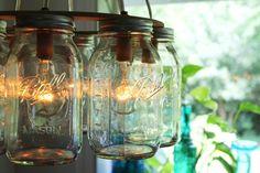 Mason Jar Chandelier - Mason Jar Light - WAGON WHEEL - Industrial Swag - Handcrafted Upcycled BootsNGus Hanging Pendant Lighting Fixture