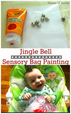 Jingle Bell Sensory Bag Painting - you will need hair gel or paint, jingle bells, tape, and plastic bag. combine to make a sensory bag for infants. -the children will develop fine motor skills by manipulating the jingle bells and paint around in the bag. Sensory Bags, Sensory Activities, Infant Activities, Classroom Activities, Infant Classroom Ideas, Sensory Bottles, Infant Lesson Plans, Lesson Plans For Toddlers, Baby Crafts