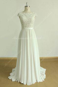 A line chiffon lace wedding dress with scallop open back by MermaidBridal on Etsy https://www.etsy.com/listing/260724644/a-line-chiffon-lace-wedding-dress-with