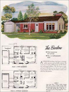 mid century modern house plans | mid century modern ranch - 1948