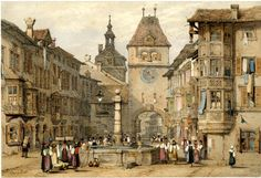 Schaffhausen - View of a busy square, with a well at centre, surrounded by figures; rows of houses at left and right, and a street seen through the round arch of a clocktower in the distance. Lithograph with hand-colouring