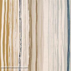 Papel Pintado Spirit&Soul 110826, papel de rayas verticales irregulares en color beige, marrón, gris y azul.