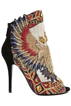 This Balmain shoe is beautiful-I can't imagine actually wearing it, but it's quite a work-of-art. I will own Balmain shoes one day! Bootie Boots, Shoe Boots, Shoes Heels, Suede Booties, Boho Heels, Ankle Boots, Heeled Boots, Cute Shoes, Me Too Shoes
