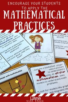 Use these cards with your third, fourth, or fifth graders to teach them about the common core mathematical practices. Each practice is compared to basketball to explain it and how mathematicians can apply it. This helps students understand the different tools they have to problem solve. In addition, students can earn stickers when they demonstrate their use of one of the practices. This helps students & teachers understand the practices & motivates students to use them. #llamawithclass