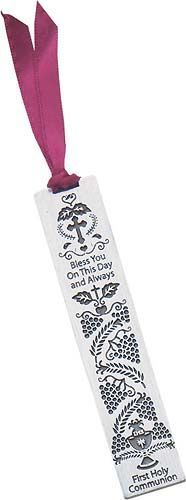 """Pewter Bookmark for First Communion. At top: """"Bless You On This Day and Always"""" and at bottom: """"First Holy Communion"""". Features all symbols of First Communion including a cross, Chalice, Host, Grapes, and Wheat. Back is Blank. Turn this into a great keepsake by engraving the First Communicant's name and date on the back!"""