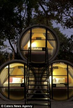 The Tubo Hotel in Mexico - a hotel that uses recycled concrete pipes as hotel rooms    The facilities at the unusual hotel are basic but just enough for visitors enjoy with a bed, light, fan and storage inside each tube