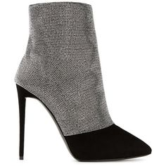 Giuseppe Zanotti Design crystal mesh ankle boots ($595) ❤ liked on Polyvore featuring shoes, boots, ankle booties, black, black ankle bootie, short boots, black mesh booties, bootie boots and black ankle booties