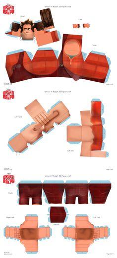 Detona Ralph Paper Doll Craft, 3d Paper Crafts, Doll Crafts, Paper Toys, Arts And Crafts, Cardboard Design, Baby Box, Wreck It Ralph, Lalaloopsy