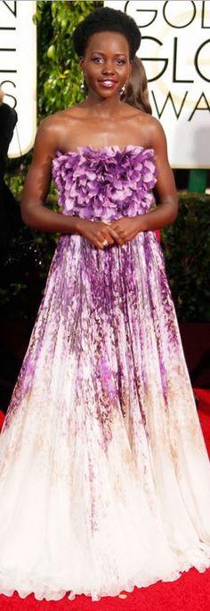 Lupita Nyong'o: Dress – Giambattista Valli  Shoes – Christian Louboutin  Purse – Judith Leiber  Jewelry – Chopard