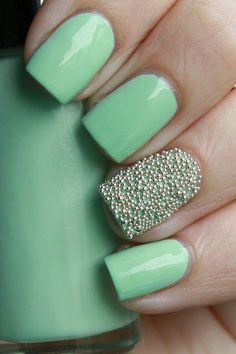 Mint Green Nail Polish. Gold Stud Beads. Accent Nail.
