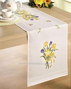Buy Daffodil Bunch 40 x 100cm Embroidery Table Runner Kit Online at www.sewandso.co.uk