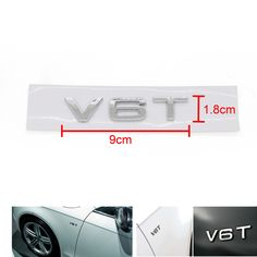 Car Chrome Silver Emblem V6T Letter Badge for Audi