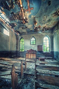 """derelictmetropolis:  (via 500px / Photo """"Yellow Cross Chapel"""" by Matthias Haker)"""