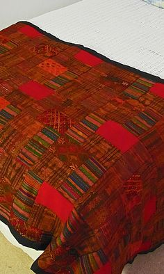 Fair Trade Guatemalan Red/Earth Tones Bed Scarf. At Fair Trade Quilts & Crafts