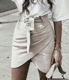 2b61dfc410 Harper Vegan Suede Wrap Belt Skirt - Camel or Cream - Daily Chic