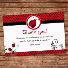 Personalized Any Wording Red Black Thank You Card Little Ladybug Birthday Party Or Baby Girl Shower Event