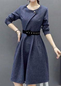 #ModLily - #unsigned Grey Long Sleeve Round Neck Dress - AdoreWe.com Warm Dresses, Modest Dresses, Simple Dresses, Pretty Dresses, Casual Dresses, Unique Fashion, Boho Fashion, Womens Fashion, Women's Fashion Dresses