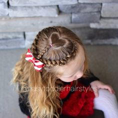 """318 Likes, 13 Comments - Tiffany ❤️ Hair For Toddlers (@easytoddlerhairstyles) on Instagram: """"Heart Dutch lace braid with a heart in the middle. I was really rushed to do this style since we…"""""""