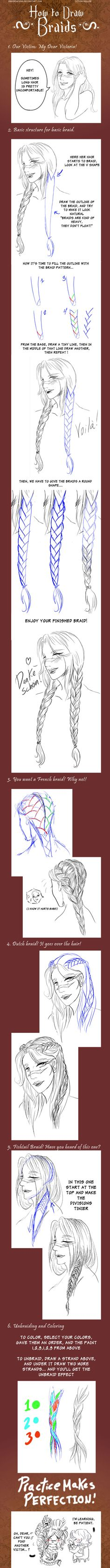 more braid tutorials ✤ || CHARACTER DESIGN REFERENCES | Find more at https://www.facebook.com/CharacterDesignReferences if you're looking for: #line #art #character #design #model #sheet #illustration #expressions #best #concept #animation #drawing #archive #library #reference #anatomy #traditional #draw #development #artist #pose #settei #gestures #how #to #tutorial #conceptart #modelsheet #cartoon #hair