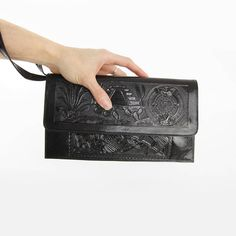 Vintage Black Tooled Leather Purse  Large Cluth Bag Wristlet