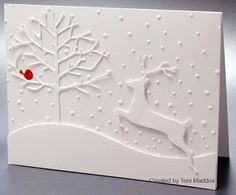 handmade Christmas card ...Paper Players #170 ... white on white with a pop of red ... die cut stag and tree ... dotted embossed background ... tiny red board ... luv this card!!