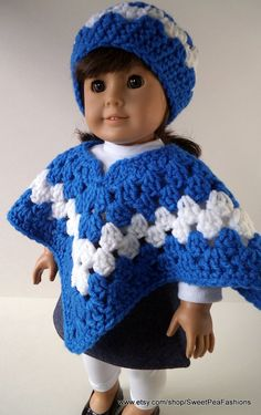 American Girl Blue and White Poncho Set by SweetPeaFashions,