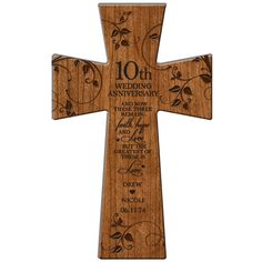 """Personalized 10th wedding anniversary Wall cross or desktop Customized Wedding Cross for """" Faith, Hope, Love  Made of Cherry wood."""