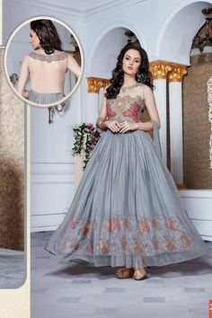 thankar latest designer heavy grey partywear gowns Fancy dresses for wedding function get online with modest price Offer Flat Up To 41% to 61% Off #elegantindianeddingdresses #gownforreceptionparty #gownforengagement More: http://www.thankar.com/store/designer-gown/