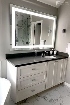 Front-Lighted LED Bathroom Vanity Mirror: x - Rectangular - Wall-Mounted Modern White Bathroom, Small Bathroom, Master Bathrooms, Warm Bathroom, Eclectic Bathroom, Minimal Bathroom, Bathroom Bin, Shower Bathroom, Classic Bathroom