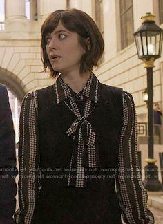 WornOnTV: Laurel's black star print blouse on BrainDead   Mary Elizabeth Winstead   Clothes and Wardrobe from TV