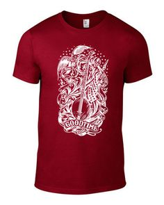 Brand spanking NEW Independence Red Goodtime Banjo T-Shirt! Artwork by Alex Zablotsky, Emmy nominated animator for American Dad and a former mandolin player for Old Man Markley.