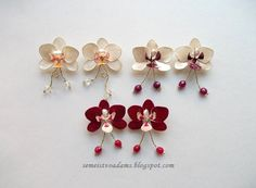 Wire orchid earrings with nail polish by semeistvoadams.blogspot.com