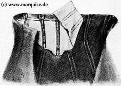 the upper part of a corselet skirt is stiffened with whalebone. The corselet skirt is a combination of the lower part of a taille and a skirt, i.e. the bodice part has to be sewn very carefully and stiffened along each seam. It is recommended to line at least the upper part. It is closed with hooks and eyes, sometimes laced, in the middle of the back.