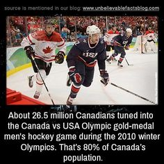 About million Canadians tuned into the Canada vs USA Olympic gold-medal men's hockey game during the 2010 Winter Olympics. That's of Canada Canadian Memes, Canadian Things, I Am Canadian, Canadian Humour, 2010 Winter Olympics, Usa Olympics, Canada Hockey, Usa Hockey, Meanwhile In Canada