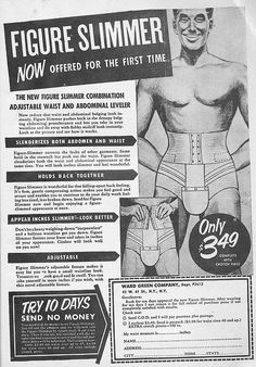 """Figure slimmer now offered for the first time. Only $3.49 complete with crotch piece""  from the Dec 57 edition of Sir! magazine."