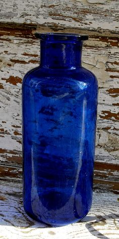 1900s Wide Mouth Antique Cobalt Blue Poison Bottle by MidnightAcresFarm, $25.90