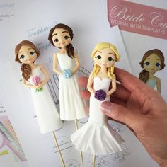 Best Ideas For Wedding Cakes Toppers Fondant Cake Topper Tutorial, Fondant Tutorial, Bride And Groom Cake Toppers, Brides Cake, Floral Wedding Cakes, Floral Cake, Purple Wedding, Gold Wedding, Fondant Cake Toppers
