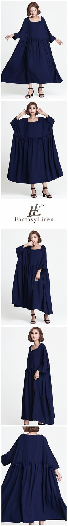Blue Plus Size Loose Long Casual Cotton Dress Women Clothes Q7843