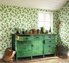 Papel hiedra verde | telas & papel
