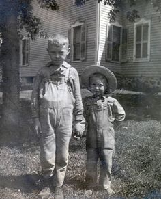 vintage photo Brothers hold hand on farm wearing by maclancy