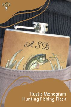 Click to customize this Monogram Hunting Fishing Flask now! Perfect gift for the fisherman and hunter in your life. Hunting Home Decor, Fish Design, Rustic Design, Fishing Lures, Flask, Special Events, Unique Gifts, Monogram, Life