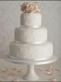 Simple polka dot wedding cake