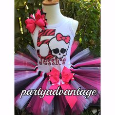 This beautiful set consist of Tutu, top(onesie or muscle shirt) and bow. This Pink, white and black Tutu is made with good quality tulle, accented