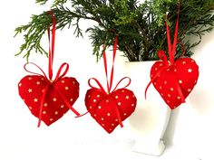 Handmade Red Hearts Christmas Tree Decorations set of Gold star Christmas Decorations, Holiday Decor, Xmas Decorations, Fabric Decoration Christmas Tree Decorations Ribbon, Ribbon Decorations, Xmas Ornaments, Diy Projects Christmas Gifts, Great Christmas Gifts, Christmas Holiday, Buy Local, Red Hearts, Melbourne Australia