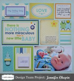 Carta Bella Baby Boy Layout by Jen Chapin Baby Boy Scrapbook, Pregnancy Scrapbook, Baby Scrapbook Pages, Project Life Scrapbook, Scrapbook Sketches, Scrapbook Layouts, Scrapbooking Ideas, Baby Milestone Book, Project Life Baby