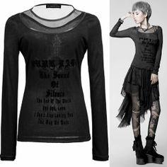 Personalized Black Long Sleeve Goth Punk Emo Scene Clothing Tunic Top SKU-11409315