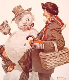 Grandfather and Snowman - Norman Rockwell