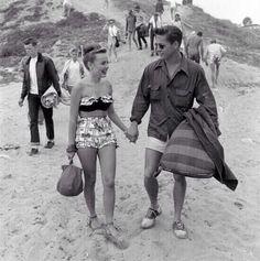 1950's teen couple at the beach